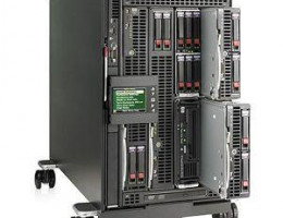 458032-B21 ProLiant BL cClass c3000 Single-Phase Enclosure with 3 blades (2xBL460c(2xE5440,6Gb),1xBL680c(4xE7340,16Gb),Cisco3020,Brocade 4Gb SAN)