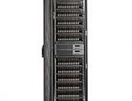 AD523A EVA8000 2C12D 50Hz 42U Cabinet. A 4U controller assembly with two HSV210 controllers, twelve M5314A 3U dual-redundant FC Loop 14-bay disk enclosures, and four 12-port FC loop switches in a 42U Storage Cabinet.